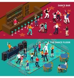 Bar dance floor 2 isometric banners vector