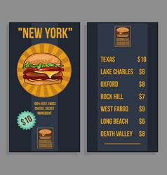 fast food restaurant menu template vector image vector image