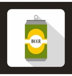 Green aluminum can icon flat style vector image vector image