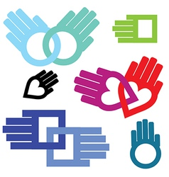 hand connection set vector image vector image