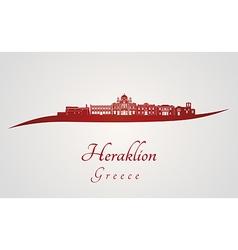Heraklion skyline in red vector image vector image