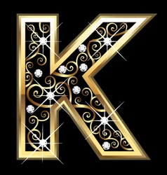 K gold letter with swirly ornaments vector image