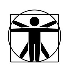 Leonardo da Vinci Vitruvian Man Sign Logo Stick vector image vector image