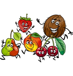 running fruits group cartoon vector image vector image