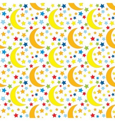Seamless Pattern with Stars and Moon vector image