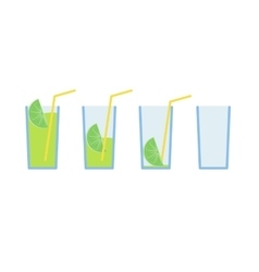 Set of green lemon coctail drink with straw stage vector image