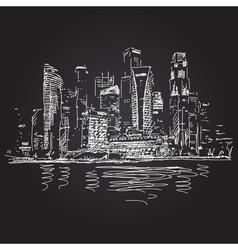 Singapore skyline at night vector image