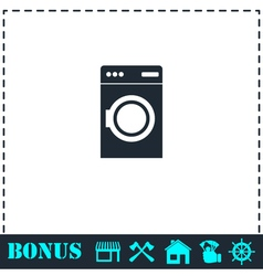 Washing machine icon flat vector