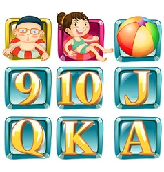 Buttons with kids and letters vector image vector image