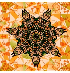 Colorful mandala over multicolored background of vector image