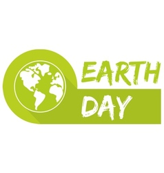 Earth day icon with green planet vector image vector image