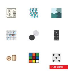 flat icon play set of chequer bones game vector image vector image