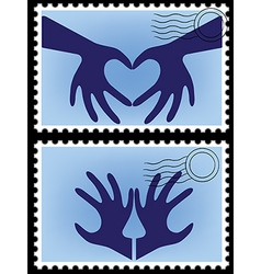 heart hands stamps vector image vector image