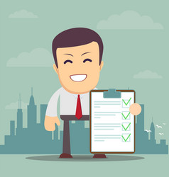 man holding a approved document vector image vector image