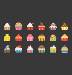 set of fancy cup cake flat design icon vector image vector image