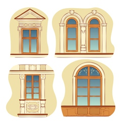 windows of old city houses vector image vector image