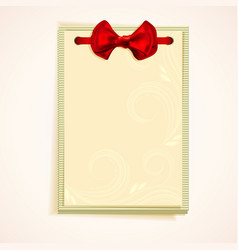 Cards notes with red bow vector image vector image
