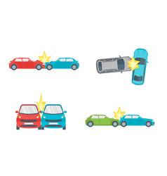 cartoon car crash road accident set vector image vector image