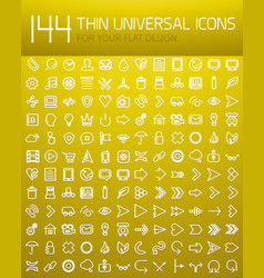 mega collection of 144 thin line flat design vector image
