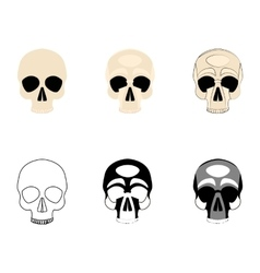 Set icons human skulls logo in various styles vector