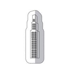 sticker monochrome contour with building vector image