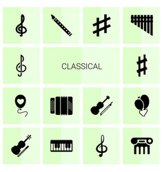 14 classical icons vector image