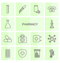 14 pharmacy icons vector image