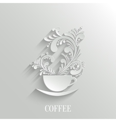Abstract 3d cup coffee with floral aroma vector