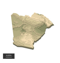 Algeria map - 3d digital high-altitude vector