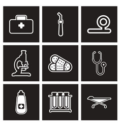 Assembly stylish black and white icons medicine vector