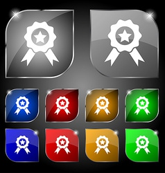 Award medal of honor icon sign set of ten colorful vector