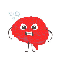 brain characters angry nervous making sport vector image