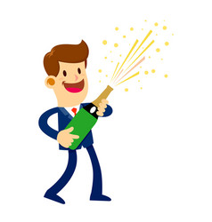 Businessman opening a bottle of champage vector