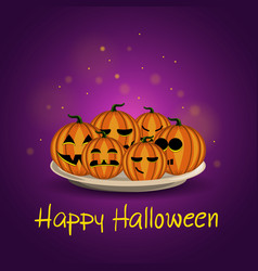 card with halloween pumpkins on a plate vector image