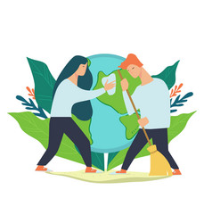 caring for environment and cleaning planet vector image