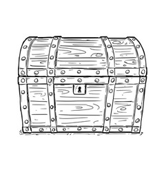 Cartoon drawing of old empty closed or locked vector