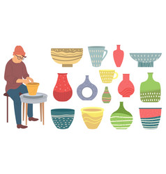Ceramist and dishware made kitchenware vector
