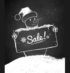 chalk sketch christmas snowman vector image