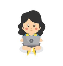 children using computers vector image