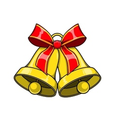 Christmas decorative bells with red bow vector image