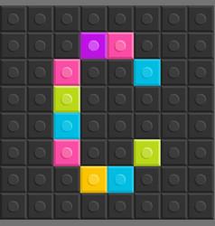 colorful brick block letter c flat design vector image