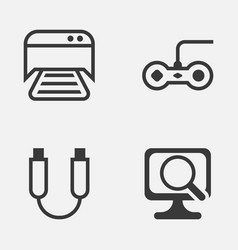 Computer icons set collection of laptop joystick vector
