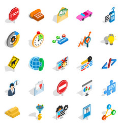 Convenient icons set isometric style vector