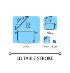Cooking pot blue linear icons set vector
