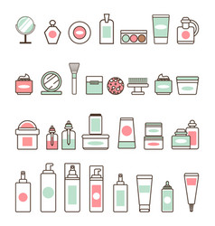 Decorative and skincare cosmetics vector