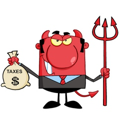 Devil With A Trident And Holding Taxes Bag vector image