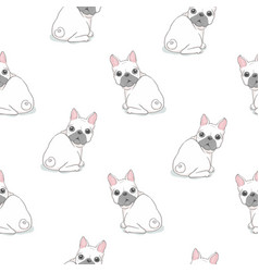 dog seamless pattern french bulldog paw repeat vector image