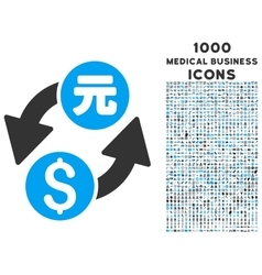 Dollar Yuan Exchange Icon with 1000 Medical vector
