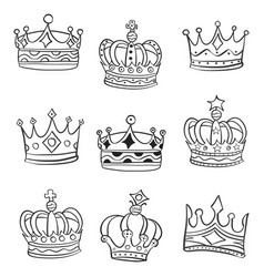 Doodle crowns various style vector
