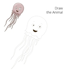 draw jellyfish educational game vector image